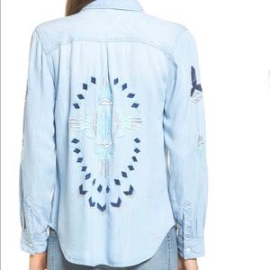 RAILS Cheyanne Embroidered Chambray Shirt sz LG